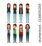 cartoon young womens | Shutterstock .eps vector #1136031203
