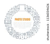 photography equipment poster... | Shutterstock .eps vector #1136034626