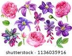 Set Beautiful Flowers Purple...