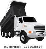 white dump truck vector... | Shutterstock .eps vector #1136038619