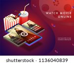 online movie concept with... | Shutterstock .eps vector #1136040839