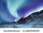northen light above mountains...   Shutterstock . vector #1136054039