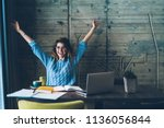 student girl sitting at table... | Shutterstock . vector #1136056844