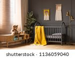 real photo of a cot with a... | Shutterstock . vector #1136059040