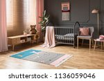 real photo of a baby crib... | Shutterstock . vector #1136059046
