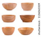wooden cup isolated on white... | Shutterstock . vector #1136063339