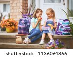 pupils of primary school with... | Shutterstock . vector #1136064866