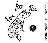 cute hand drawn doodle fox | Shutterstock .eps vector #1136065778