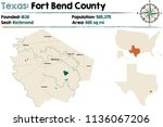 detailed map of fort bend... | Shutterstock .eps vector #1136067206