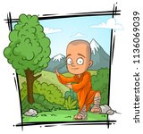 cartoon bald buddhist monk... | Shutterstock .eps vector #1136069039