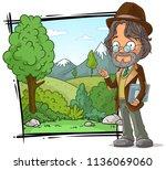 cartoon intelligent teacher... | Shutterstock .eps vector #1136069060