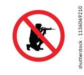 no gun sign.vector illustration. | Shutterstock .eps vector #1136069210