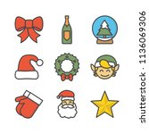 christmas colored outline icon | Shutterstock .eps vector #1136069306