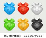 pig. set of icon different... | Shutterstock .eps vector #1136079383