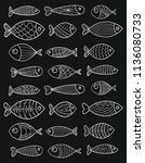 set of vector stylized fishes.... | Shutterstock .eps vector #1136080733
