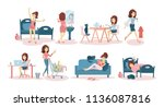 woman's daily routine at home... | Shutterstock . vector #1136087816