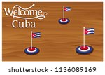 welcome to cuba poster with... | Shutterstock .eps vector #1136089169