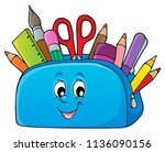 pencil case theme image 2  ... | Shutterstock .eps vector #1136090156