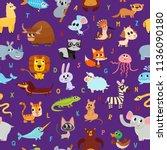 cute cartoon animals alphabet... | Shutterstock .eps vector #1136090180