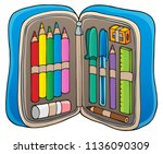 pencil case theme image 1  ... | Shutterstock .eps vector #1136090309