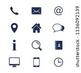 contact icons set. simple flat... | Shutterstock .eps vector #1136092139
