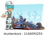 cartoon racer character in... | Shutterstock .eps vector #1136092253