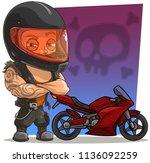 cartoon strong biker character... | Shutterstock .eps vector #1136092259