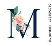 floral alphabet   navy color... | Shutterstock . vector #1136093750