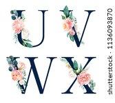 floral alphabet set   set of... | Shutterstock . vector #1136093870