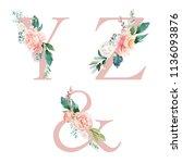floral alphabet set   letters y ... | Shutterstock . vector #1136093876