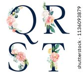 floral alphabet set   set of... | Shutterstock . vector #1136093879