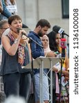 London, United Kingdom, 13th July 2018: Caroline Lucas MP, co-leader of the Green party of England and Wales speaks at an anti Trump rally in central London - stock photo