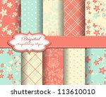 set of flower vector paper for... | Shutterstock .eps vector #113610010