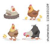 Cute Cartoon Hens Set. Clockin...