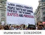 London, United Kingdom, 13th July 2018:Placards carried by anti Donald Trump protesters marching in central London - stock photo