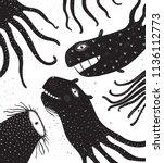 underwater monsters creatures... | Shutterstock . vector #1136112773