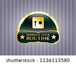 gold emblem with safe  safety... | Shutterstock .eps vector #1136113580