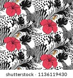 pattern of hibiscus  zebra and...