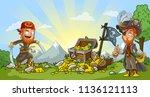 cartoon bearded pirates... | Shutterstock .eps vector #1136121113