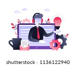 concept customer and operator ... | Shutterstock .eps vector #1136122940