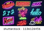 set of 9 neon signs for bar ... | Shutterstock .eps vector #1136126456