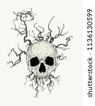 vector skull with branches | Shutterstock .eps vector #1136130599