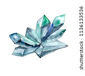 blue diamond rock jewelry... | Shutterstock . vector #1136133536