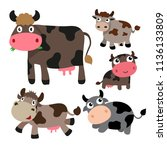 cow character vector design | Shutterstock .eps vector #1136133809