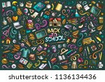 colorful vector hand drawn... | Shutterstock .eps vector #1136134436