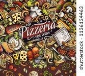 cartoon vector doodles pizza... | Shutterstock .eps vector #1136134463