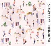 flea market poster with people... | Shutterstock .eps vector #1136134940