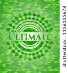 ultimate realistic green emblem.... | Shutterstock .eps vector #1136135678