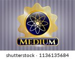 golden emblem with atom icon... | Shutterstock .eps vector #1136135684