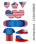 american flag  a set of icons... | Shutterstock .eps vector #1136140844